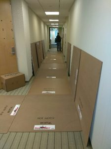 here we have lined a commercial building with cardboard to protect the floors